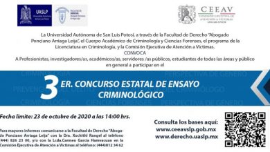 Photo of CEEAV CONVOCA AL TERCER CONCURSO ESTATAL DE ENSAYO CRIMINOLÓGICO
